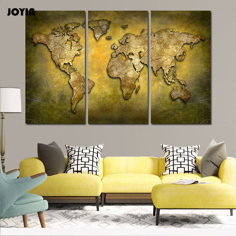 Aliexpress Com Buy Unframed 3 Panel Vintage World Map: Aliexpress.com : Buy Vintage World Map Canvas Painting