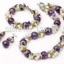 Красивый Фиолетовый Кристалл перидот и жемчужное ожерелье, браслет серьги набор ювелирных изделий для женщин