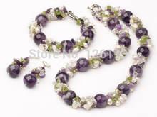Набор украшений для женщин ожерелье с фиолетовыми кристаллами