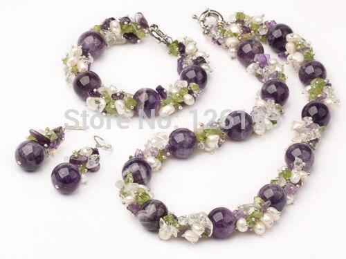 Nice Purple Crystal Peridot & Pearl Matching Necklace, Bracelet Earrings Set Jewelry for womenNice Purple Crystal Peridot & Pearl Matching Necklace, Bracelet Earrings Set Jewelry for women
