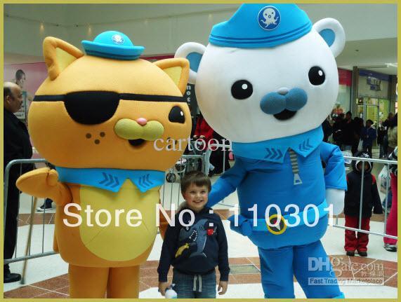 Nouveauté Double ours Costume mascotte Octonauts Halloween Fursuit déguisement livraison gratuite