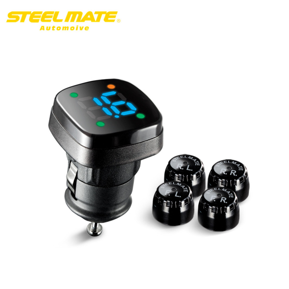 Steelmate 2017 TP-76B car tire pressure tpms system monitor Cigarette lighter power Alarm security Wireless steel mate