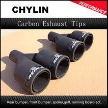 Remus Exhaust Muffler Pipe Inlet 54mm Outlet 76mm 1 Pcs Matt Black With Carbon Fiber Car Styling Universal
