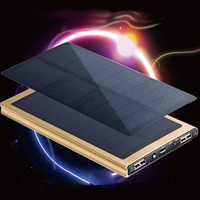 Fast Shipping Universal Solar Power Bank 20000mAh Ultra Thin Solar Charger External Battery Pack 2 USB for All Phone Solar Panel