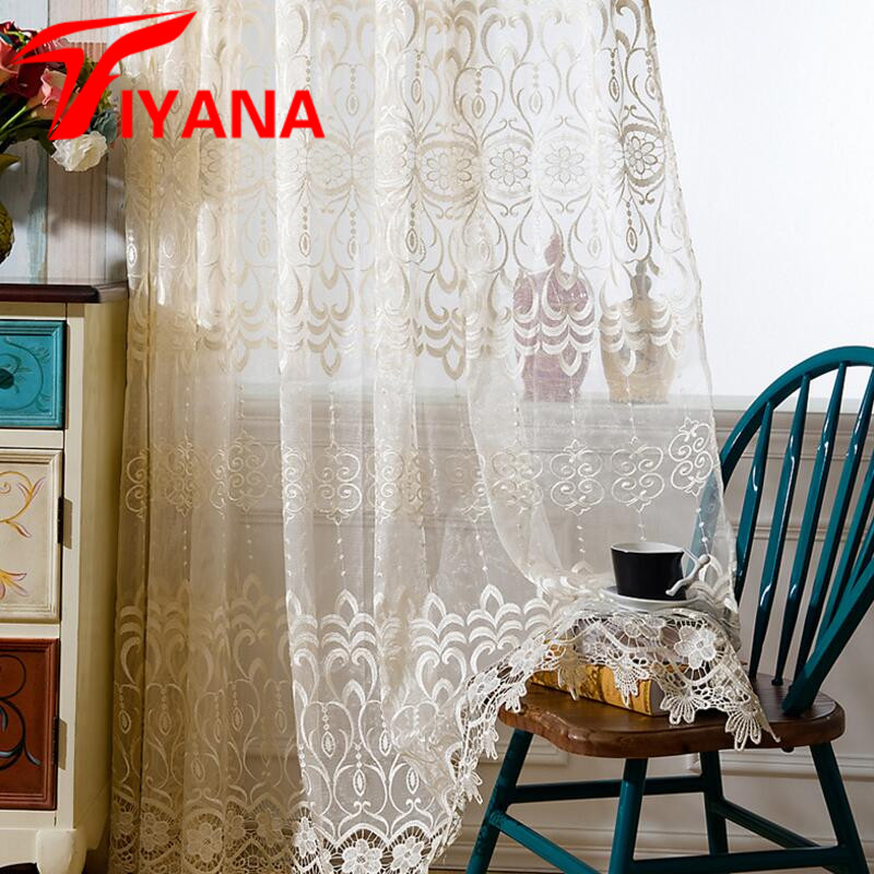 Tiyana Quality Curtains Delicate Design Custom Sheer Curtains For Living  Room Bedroom Kitchen Balcony Red Beige