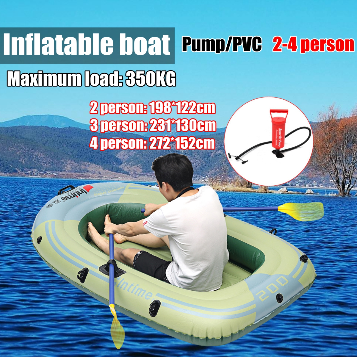 Sports Inflatable Fishing Boat Raft PVC Canoe Dinghy Tender 2/3/4 Person Kayak Fishing Boats Cushion Rowing Boats бра lightstar led 431023