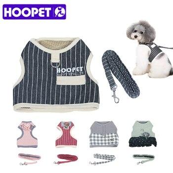 HOOPET Adjustable Pet Dog Cat Harness dengan Leash Kecil Persegi Stripes Lucu Puppy Lembut Rompi Harness