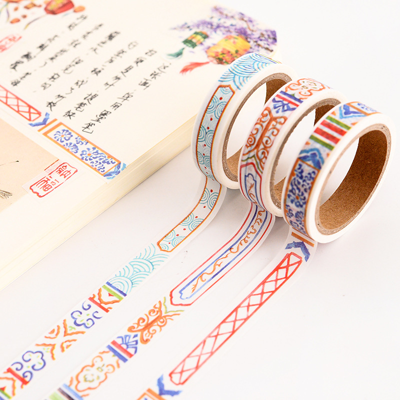 15 Style Wind Retro Chinese Style And Paper Tape Separation Line Border Frame Laptop Decoration And Paper Stationery Tape
