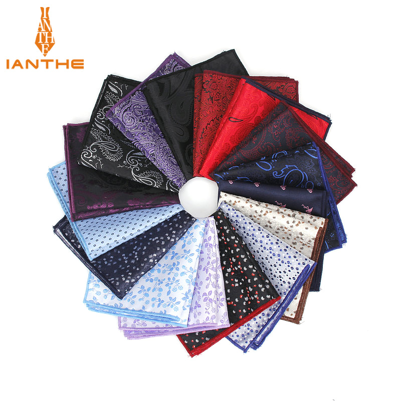 Polyester Hanky Paisley Men Fashion Dot Pocket Square Handkerchiefs For Men Suit Tie Dress Shirts Flower Jacquard Handkerchief