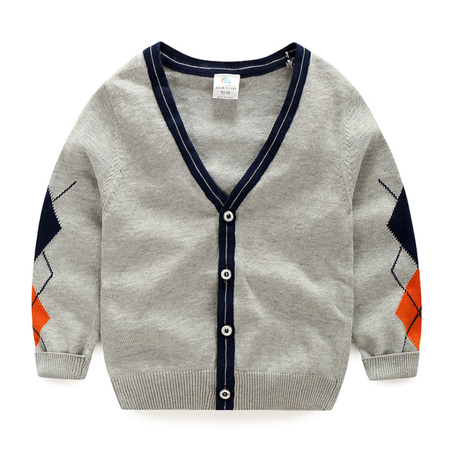 Baby Boy Solid Color Sweater Spring Autumn Childrens Cardigan Long