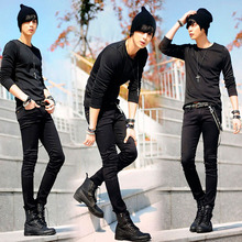 Mens Korean Designer Black Slim Fit Jeans Punk Cool Super Skinny Pants