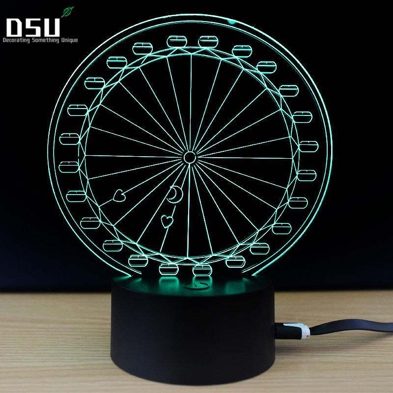 Carousel Illusion Night Lamp 3D Carousel Lights Decorative Modern Lighting Ferris Wheel  ...