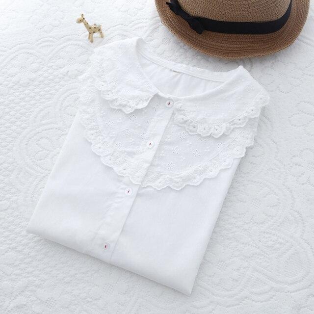 Beliebt Bevorzugt Neue Herbst Weiße Bluse Frauen Tops Vintage Stickerei Spitze @FI_39