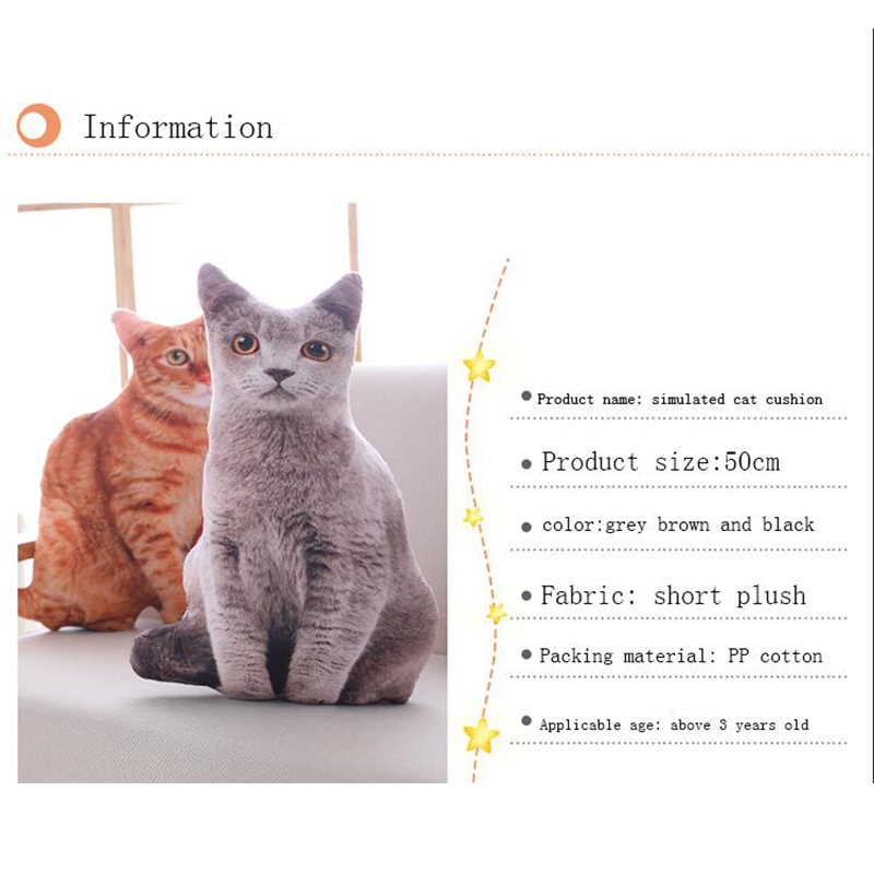 HTB1oLLUbBKw3KVjSZTEq6AuRpXaL LREA New 50CM cojines Plush Toy Cute Expression Simulation Cat Pillow Bedroom Sofa Decorations Cushion