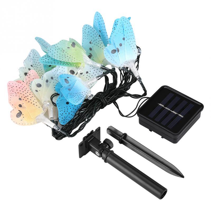 Outdoor LED Solar String Light Butterfly Shape 12 LED 4 Meters Strings Lights Lamp Garden Solar Lights Party Decor