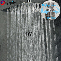 Ultrathin Polished Square 16 Chrome Rain Shower Head Wall Ceiling Mounted Tap Top Sprayer