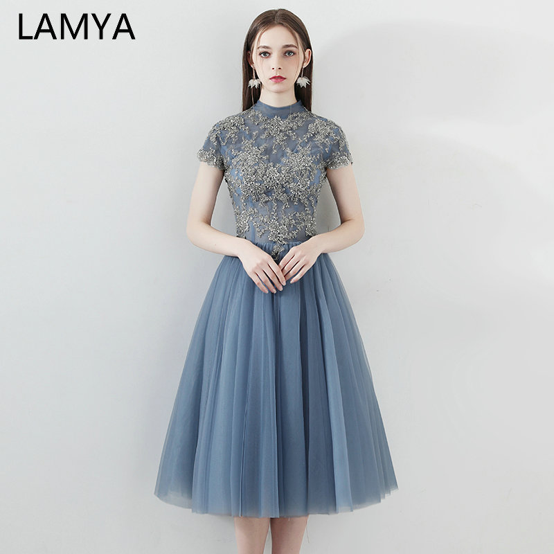 LAMYA Lace Appliques Prom Dresses With Short Sleeve Knee Length Evening Party Dress Simple Formal Gown Special Occasion Dress