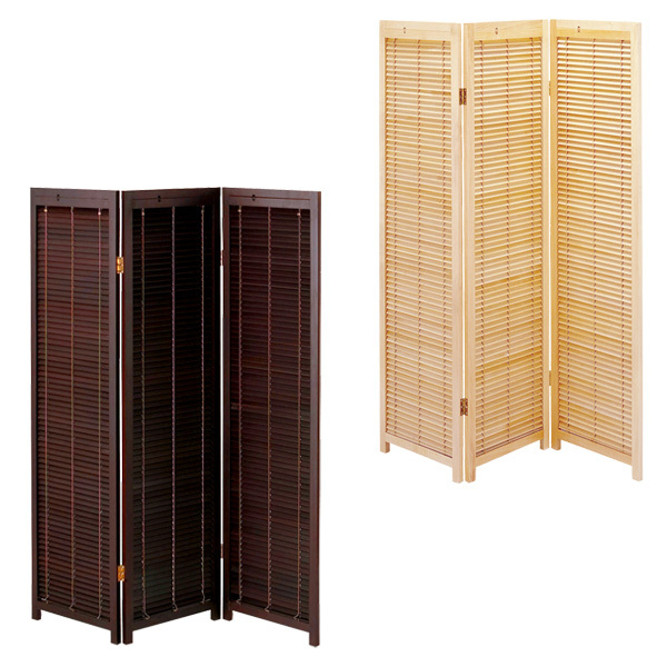 Blind Partition Oriental Japanese Style 3 Panel Wood Folding Screen