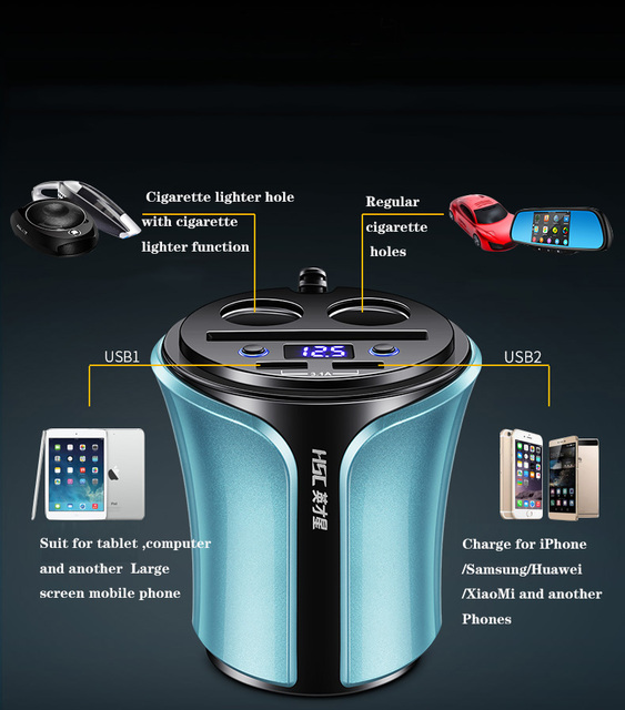 Cup Car Charger For Mobile Phone Multi-function Display Voltage 3.1A 2 USB GPS With LED Voltmeter Dual Cigarette Lighter Sockets