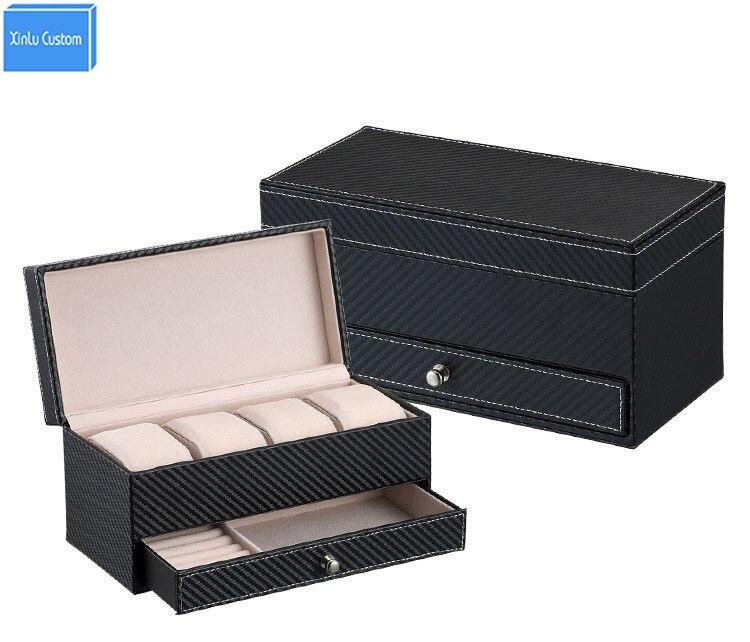 Новинка 2017 года подарок Home/Office двойной Слои смотреть ящик случае кожаный футляр косметический ящик Марка часы/организаторы ювелирные издел...
