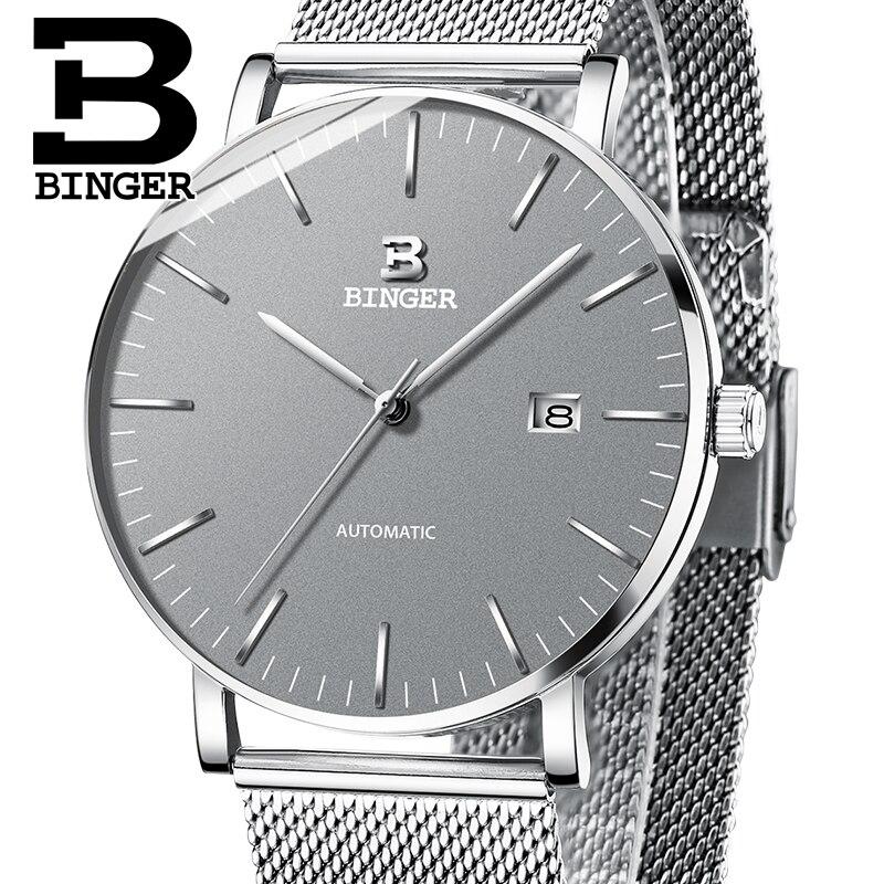 Suisse BINGER Montres Hommes Marque De Luxe automatique mécanique Hommes Montre Sapphire Homme Japon Mouvement reloj hombre B-5081M-3