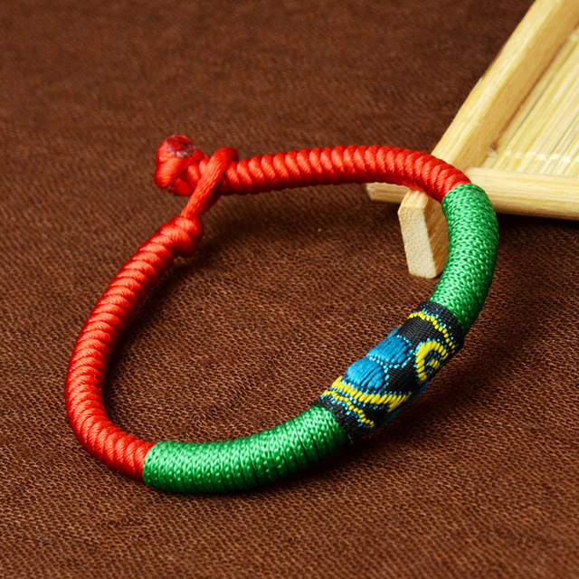 Braided Ethnic Fashion Handmade Tibetan Silver Bracelet For Women Chinese Style Cloth Jewelry Color