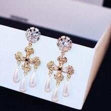 Fashion Jewelry Crystal Round Circle Cross Drop Earrings For Women Baroque Bohemian Imitation Pearl Large Long
