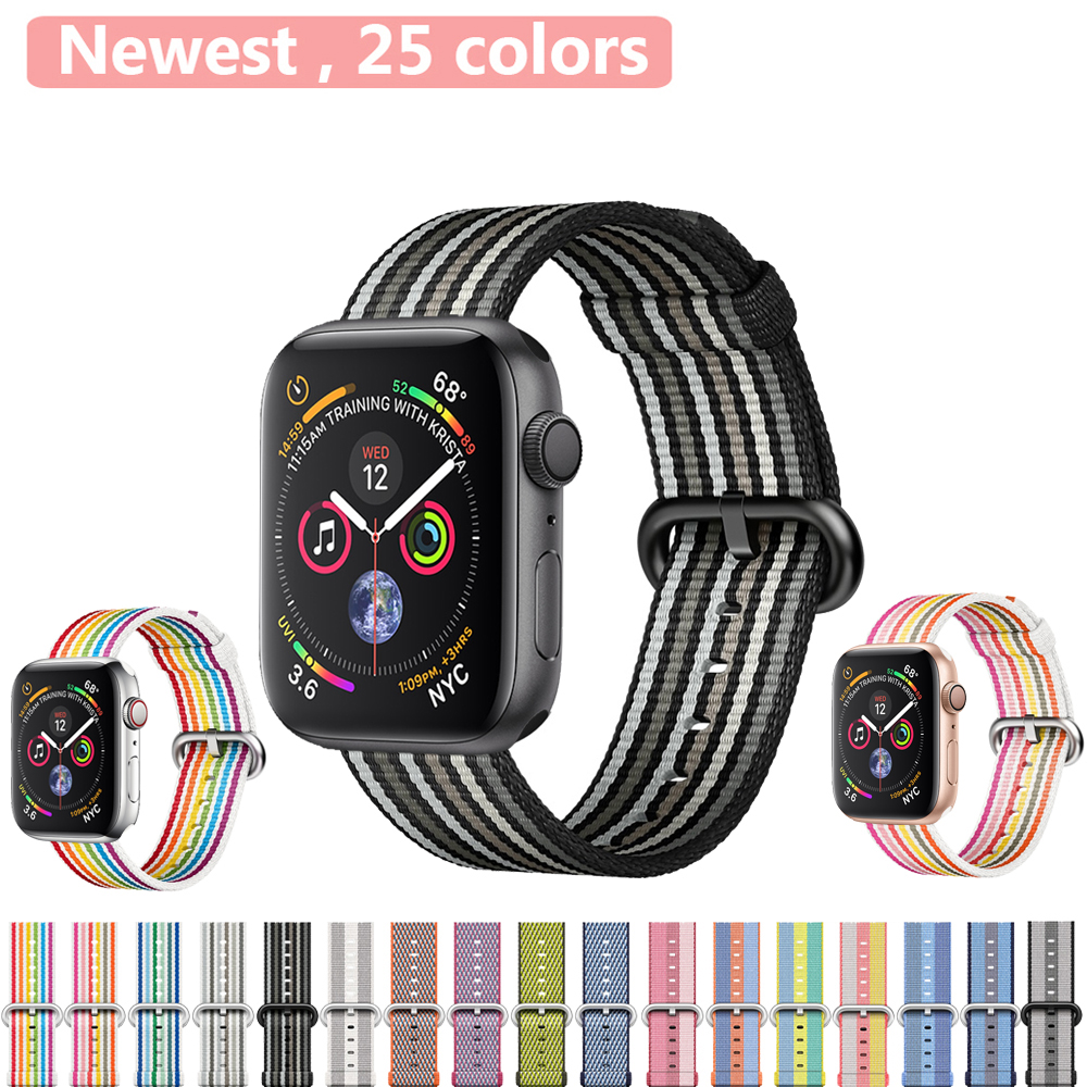 US $1.27 30% OFF|Sport Strap for Apple Watch Band 4 3 42mm 44mm iwatch band 3 2 1 38mm 40mm Woven Nylon Classic buckle Bracelet Wrist watchband-in Watchbands from Watches on Aliexpress.com | Alibaba Group