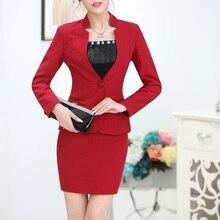 4808237d01 Plus Size Nova Moda Magro Formal Uniforme Feminino Projeto Blazers Ternos  Casacos E Conjuntos de Saia