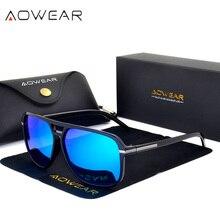 Aowear رجالي ريترو ساحة نظارات الرجال نظارات الاستقطاب مرآة النظارات الذكور hd القيادة في أنيق الأزرق نظارات oculos