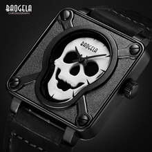 лучшая цена New Baogela Mens Waterproof Black Brown Leather Strap Square Dial Quartz Wrist Watches with Luminous Skull