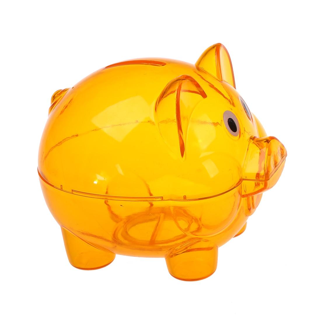 Plastic Piggy Bank Coin Money Cash Saver Savings Safe Box Clear Orange