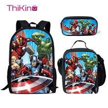 Thikin Avengers Marvel Hero School Bags 3pcs/set for Boys Teenagers Backpack Cartoon Pattern Bookbag Lovely Satchel