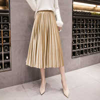 BGTEEVER 2019 Spring Summer Women Velvet Skirt High Waist Large Swing Metallic Long Pleated Skirts Femme Plus Size 3XL Midi Saia