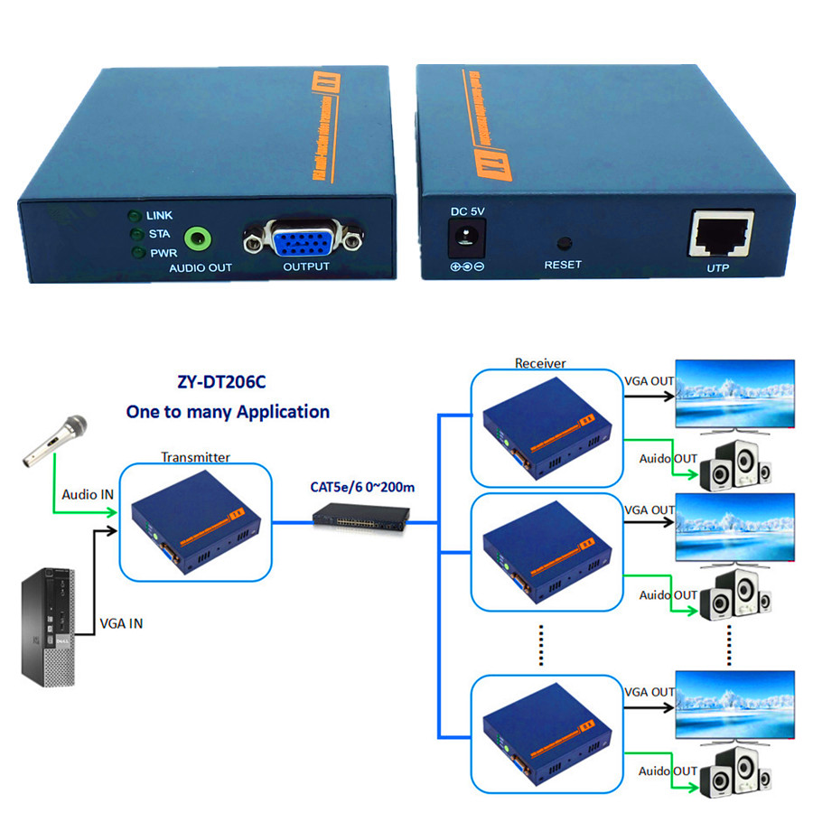 DT206C 660ft Network VGA Over IP Audio Splitter Extender By Ethernet Cat5e Cat6 Cable 1080P VGA LAN Video Transmitter Receiver ...