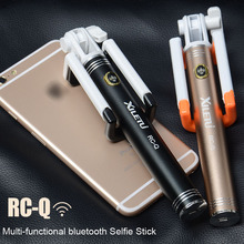 XILETU RC-Q Handheld Selfie Stick Self-portrait Monopod Pole with Bluetooth Remote Shutter For Smartphone IOS Android iPhone black aura bluetooth handheld self portrait monopod for ios