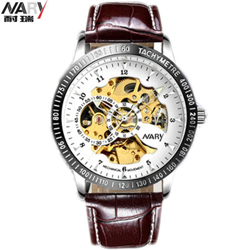 NARY Black Skeleton Design Blue Engraving Clock Men Leather Strap Mens Watches Top Brand Luxury Automatic Watch Man Montre Homme 2017new sport design bezel golden watch mens watches top brand luxury montre homme clock men automatic skeleton waterproo watch