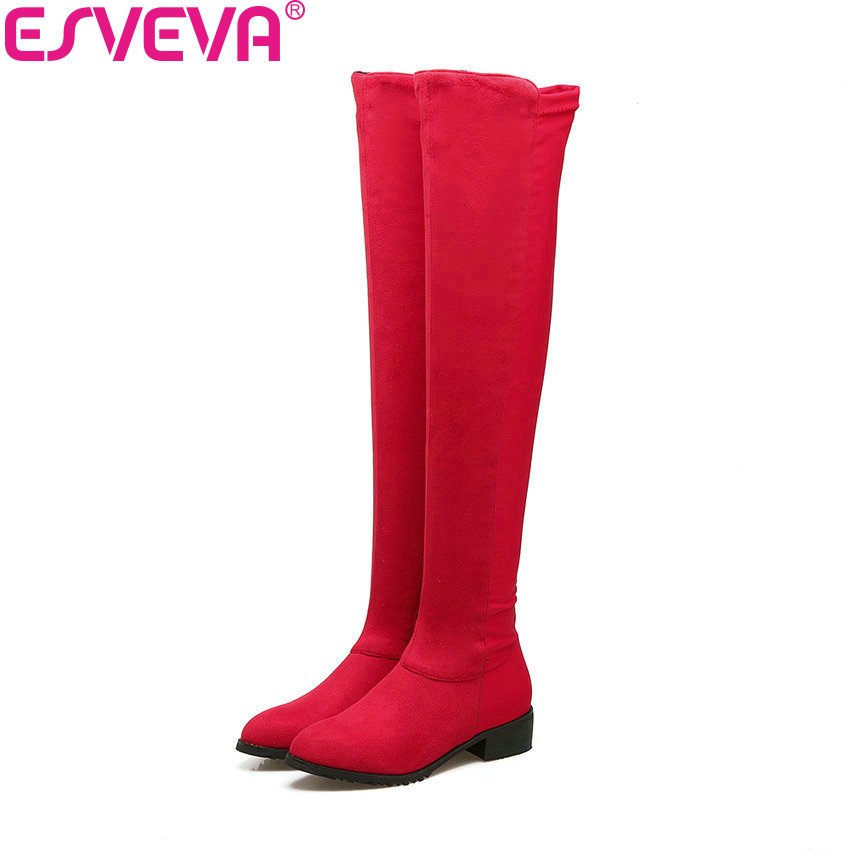 ESVEVA 2018 Women Boots Round Toe Boots Short Plush Over The Knee Boots Suede Square Med Heels Slim Look Ladies Boots Size 34-43 mars lasar mars lasar the eleventh hour