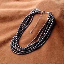 2016 New Women Imitation Pearl Necklace Crystal Grey Pearl Bead Golden Statement Collar Choker Necklace For Women Dress Collier