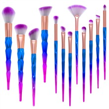DE'LANCI 12PCS Makeup Brushes Fantasy Set Foundation Powder Eyeshadow Eyebrow Kit Rhinestone Gradient color makeup brush set