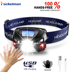 5000Lm Powerful Headlamp Rechargeable LED Headlight Camping Torch Light Lamp Body Motion Sensor Head Flashlight With USB