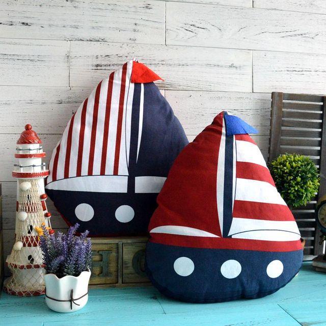 AIBEI-47cm*40cm Mediterranean Style Sailing Ship Pillow Cushion Cotton Linen Sofa Car Decoration Throw Home Decor