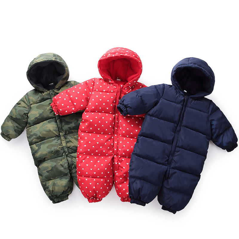 Snowsuit Baby Snow Wear Cotton Warm Outerwear Coat Childrens Overalls   Romper   Kids Baby Boys Girls Winter Jumpsuit Newborn Parkas