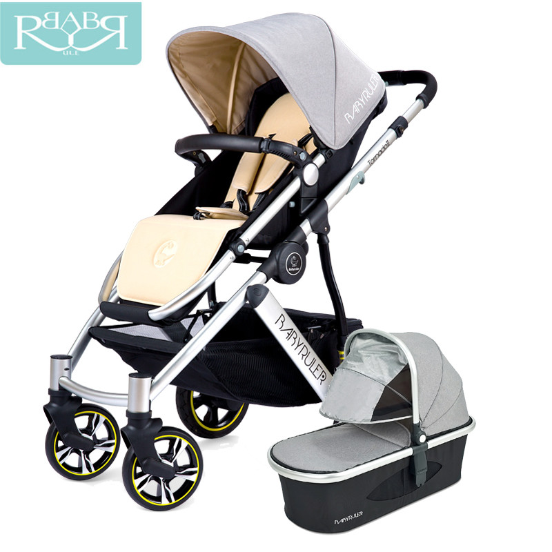 Babyruler Baby Stroller 3 in 1 High Landscape Aluminum Luxury Folding Baby Carriages Pram for Newborn Kinderwagen Bicycle babyruler baby stroller 3 in 1 high landscape aluminum luxury folding baby carriage pram for newborn kinderwagen carrinhos koltu