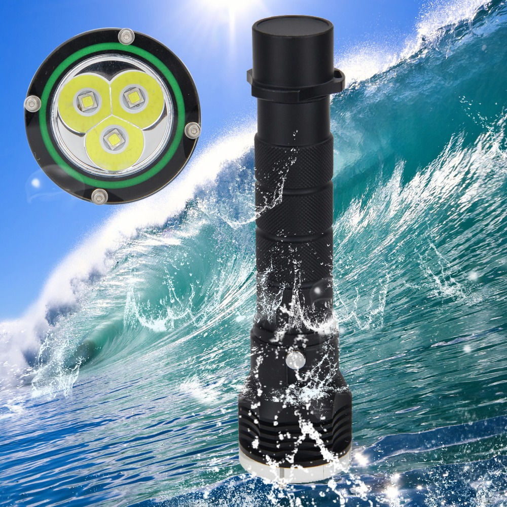 Waterproof 100m 6000Lm Diving Flashlight 3X XML L2 LED SCUBA Flashlight Torch 2x18650 Light sitemap 19 xml