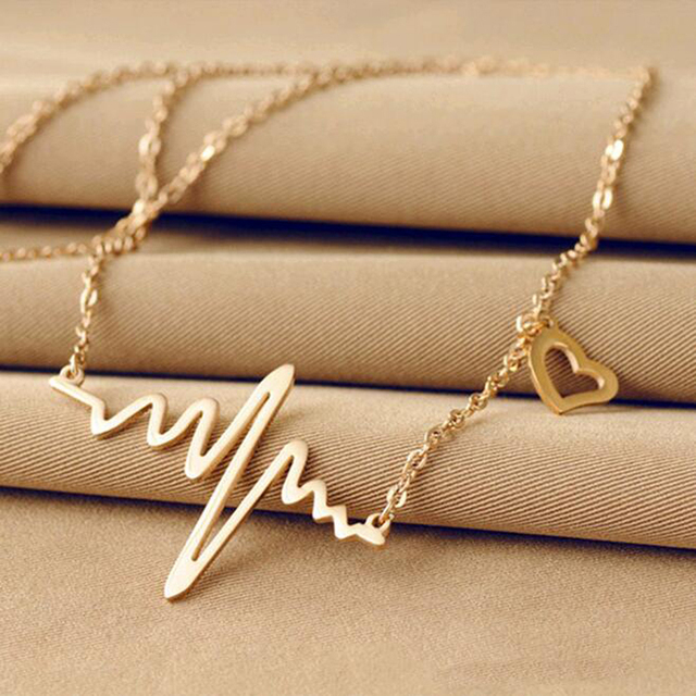 2016 Hot Simple Wave Heart Necklace Chic ECG Heartbeat Gold Pendant Charm Lightning Necklace for Women Vintage Jewelry