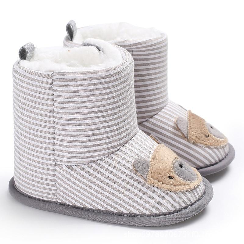Raise Young Cartoon Bear Winter Plus Velvet Warm Baby Shoes Soft Soles Plush Toddler Girl Booties Newborn Infant Boy Boots