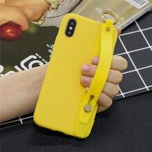 Funda suave para teléfono con correa de muñeca para iPhone 7 funda con soporte de colores dulces para iPhone X Xs 11 pro Max XR 7 8 Plus 6, 6s