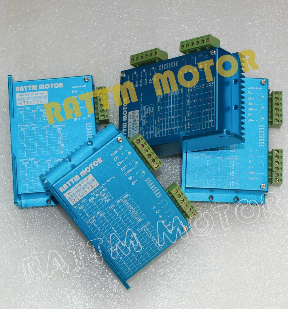 HOT!!! 4PCS RTM5740 50VDC /4A / 128 microstep CNC stepper replaceFMD2740A stepper motor stepping motor driver 50V/4A 4a integrated stepper motor controller pc control single axis 42 57 stepping motor driver cnc