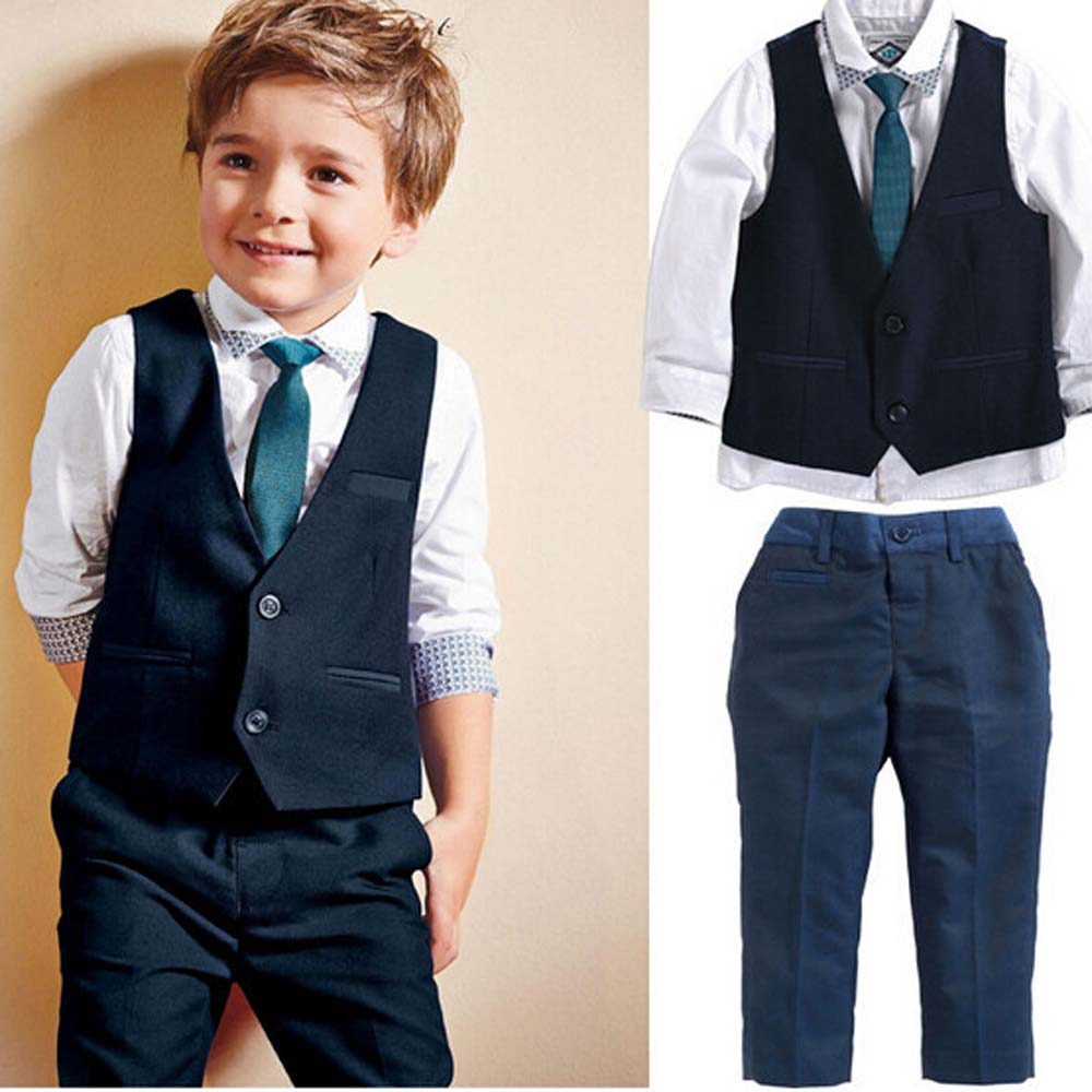 Blue Boys Blazer Suit Children Vest+Tie+Blouse+Pants 4 pieces Blazer Sets for Wedding Autumn Outwear Toddler Boy Blazers DA705